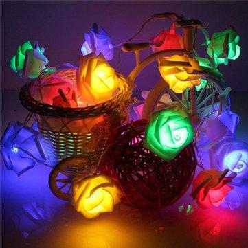 Decorative Lights - Kcasa 1.2 Meters 10 Lights Small Rose Light String Wedding Festive Wedding Dress - Pink Lights String Rose Fairy Decorative Christmas Flower Room Light - - Party Mayo De For Cinco Songs