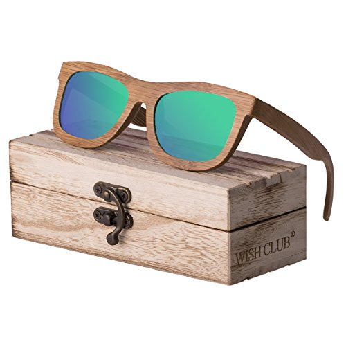WISH CLUB Bamboo Wood Frame Lightweight Sunglasses Polarized UV 400 Retro Floating Square Mirrored Lenses Fashion Glasses - Club The Sunglasses In