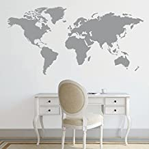 "BATTOO World Map Decal Large World Map Vinyl Wall Sticker World Map Wall D¨¦cor Wall Art Sticker(24""h x48""w, Gray)"