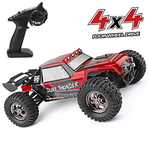 - RC Cars Dune Thunder 2.4 GHz 4WD 1/12 Scale Desert Buggy 25 Mph High Speed with LED Lights, Oil Filled Dampers Waterproof Remote Controlled All Terrain Trucks RTR with Rechargeable Battery