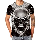 Zackate Mens 3D Skull Printed T-Shirt Gothic Short Sleeve O-Neck Sweatshirts Tee Blouse Tops Tank Shirts Black