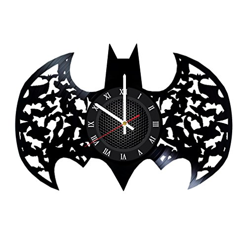 Ma Va Batman Logo Silhouette Vinyl Record Wall Clock Gift for Fans Great Idea Home Decor DC Comics Vintage Decoration - Buy Gift for Everybody -
