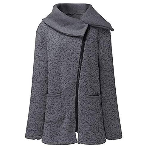 Yefree Hiver Vtements pour Femmes Col Haut Garder au Chaud Top Manteau Loisirs Manches Longues Manteau Gris Fonc
