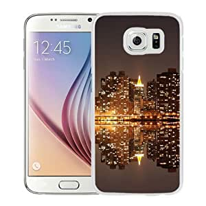 Fashionable Custom Designed Samsung Galaxy S6 Phone Case With HD City Reflection At Night_White Phone Case