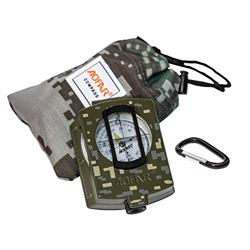AOFAR Military Compass Lensatic Sighting- Fluorescent, Waterproof and Shakeproof with Map Measurer Distance Calculator, Pouch for Camping, Hiking, Hunting, Backpacking - Metal Lensatic Compass