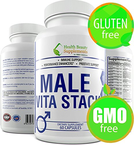 * MALE VITA STACK * GLUTEN FREE,Libido Booster For Men,Prostate Complex,Energy & Focus Matrix And Daily Vitamin Complex, Best One Daily Multivitamin,Male Libido Enhancement,Male Fertility Supplements Mens Stack