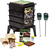 Worm Factory 360 Composting Bin + Moisture and pH Testing Meter Worm Farm Kit (Black)
