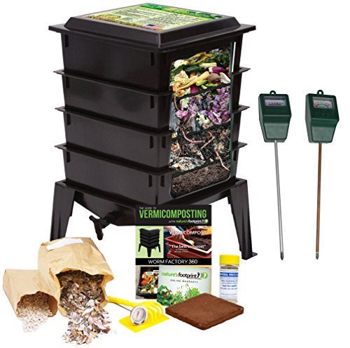 Worm Factory 360 Composting Bin + Moisture and pH Testing Meter Worm Farm Kit (Black) by The Squirm Firm