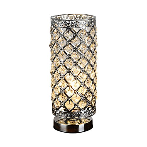 Gu10 Compact (Crystal Silver Table Lamp Modern Polished Chrome Clear K9 Crystal Jewel Cylinder Table Lamp, 28cm High Elegant Crystal Light, Compact Design Lamps Suitable for Home, Bedroom, Living Room, Dining Ro)
