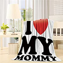 YOUNGKIDS Mother's Day I Love My Mommy Fleece Throw Blanket Custom, Soft Plush Flannel Blankets for Sofa/Couch/Bed/Chair, 60x80inch