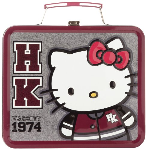 Hello Kitty Varsity SANLB0080 Childrens School Lunchbox,Grey/White,One Size