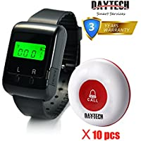 Caregiver Pager Wireless Calling System for Elder Restaurant Nursing Home with 1PC Wearable Watch Receiver and 10PCS Waterproof Call Buttons