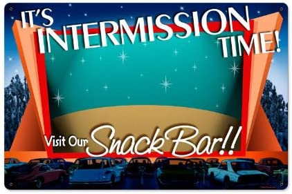 Amazon Com Drive In Theater Intermission Vintage Metal Sign Movie 24 X 16 Steel Not Tin Home Kitchen
