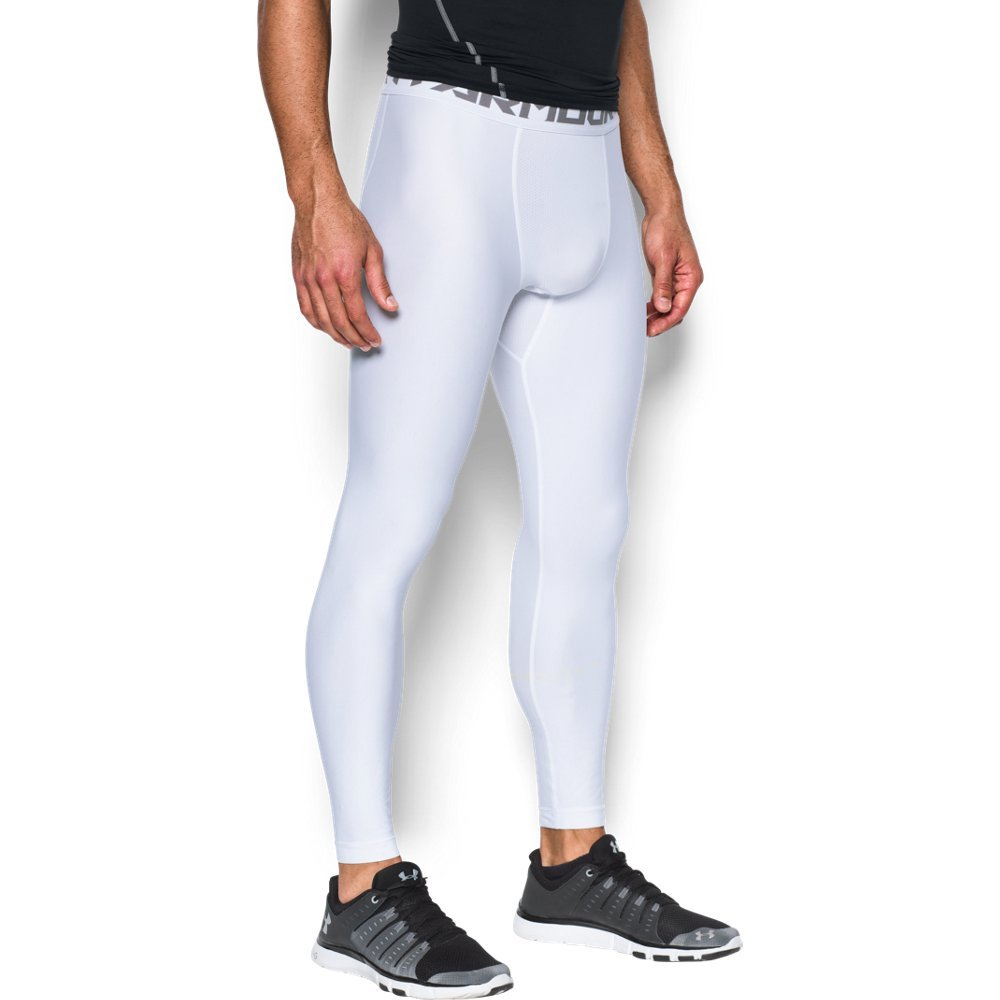 Under Armour Men's HeatGear Armour 2.0 Leggings, White (100)/Graphite, X-Large Tall by Under Armour