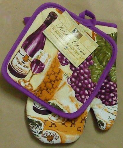 The Pecan Man Cotton, Everyday Kitchen Set Pot Holder Oven Mitt ,Set of 2*wine bottle grape