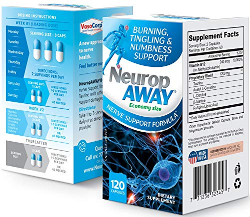 VasoCorp NeuropAWAY Neurop Pain Relief | 120 Capsules Nerve Pain Relief and neurop Pain Relief for feet, neurop Treatment for Burning Numbness Pain in Legs and feet Vitamin Supplement