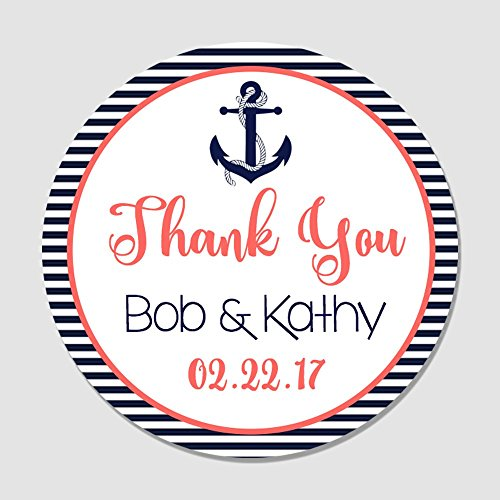 Nautical Coral Anchor - 40 Personalized Navy & Coral Nautical Anchor Wedding Favor Label Stickers - Anchor Themed Wedding Favor Tags - Wedding Thank You, Party Favor Stickers