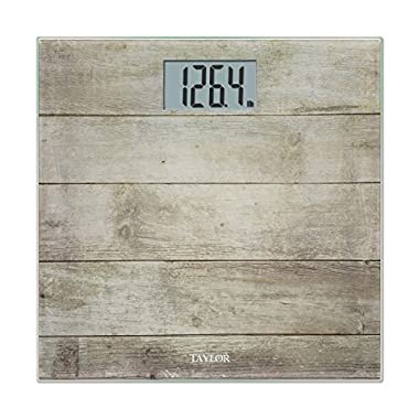 Taylor Glass Digital Barn Wood Bath Scale, Brown