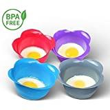Silicone Egg Poaching Cups – Set of 4 BPA Free Non-Stick Poacher Pods for Cooking Perfect Poached Eggs – Microwave or Stovetop Egg Cooker - Includes Bonus Recipe eBook