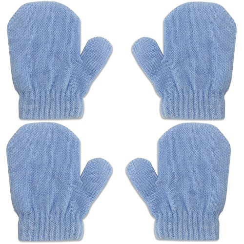 2 Pair Pack Infant Baby Boys Girls Mittens Warm Knitted for Winter Gloves (2 Pack Light Blue) ()