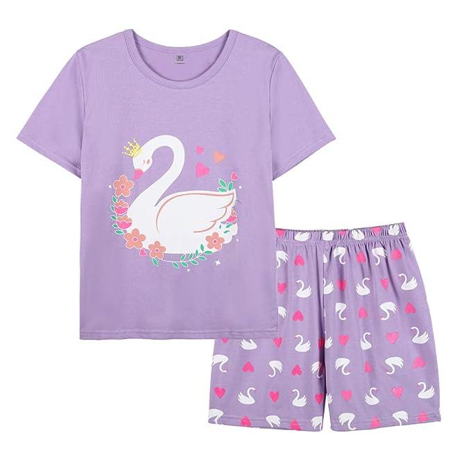 Amazon.com: YUEXIN Pijamas de manga corta para niñas grandes ...