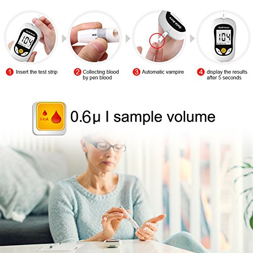 Diabetes Test Kit, Blood Glucose Meter with 50/100 Blood Glucos Test Strips 50/100 Free Lancets,Gold Electrode,5s Test time,Volume 0.8μL Blood (50 pcs Test) by Sinocare (Image #2)