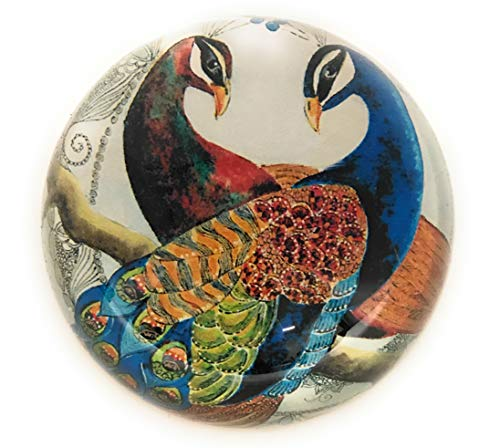 Value Arts Pair of Peacocks Glass Dome Paperweight, 3 Inches ()