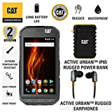 CAT S31 Unlocked Cell Phone Single Sim North American Variant Custom Bundle Including CAT Rugged Headphones and 10000mAh Power Bank with 2 Year Warranty and Screen Protection