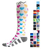 Compression Socks for Women & Men - Bright Hearts, Small