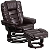 41 Contemporary Brown Leather Recliner & Ottoman w/ Swiveling Mahogany Wood Base (1 Set) - FF-BT-7818-BN-GG