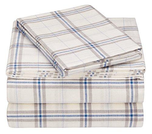 Pinzon 160 Gram Plaid Flannel Sheet Set - Twin, Cream/Blue Stripe Plaid - PZ-PLFLAN-CB-TN