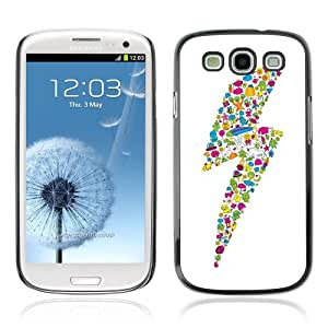 Designer Depo Hard Protection Case for Samsung Galaxy S3 / Cute Characters Colorful Lightning