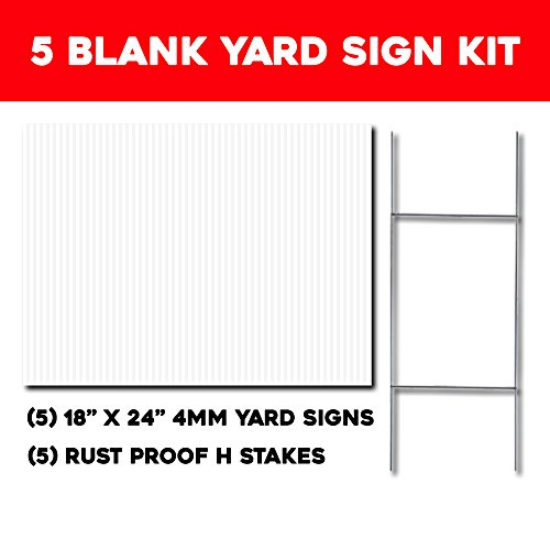 Blank Yard Sign Kit, Box of 5, 18x24 with H-stakes for Garage Sale Signs, For Rent, Open House, Estate Sale, Now Hiring, or Political Lawn Sign (Custom Yard Sign)