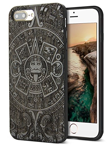 - Compatible for Cool iPhone 8 Plus Case, Nature Real Wood Engraving Pattern Unique Black Wood Grain Protective Case for iPhone 7/8 Plus