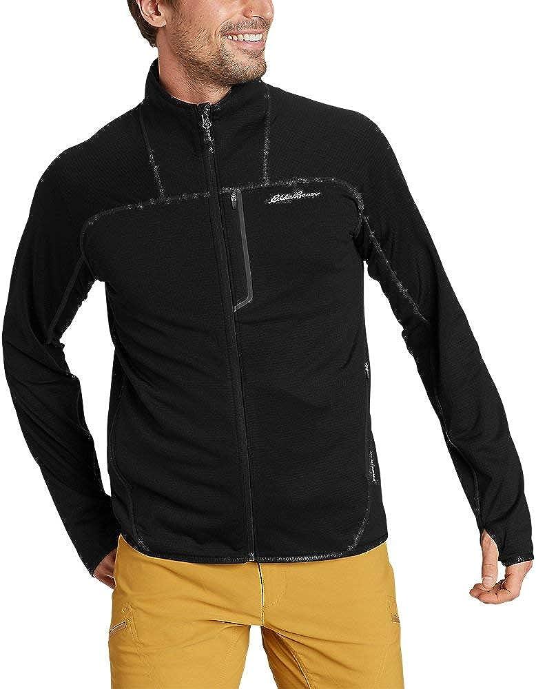 Eddie Bauer Men's High Route Grid Fleece Full-Zip Mock-Neck, Black Tall XXL