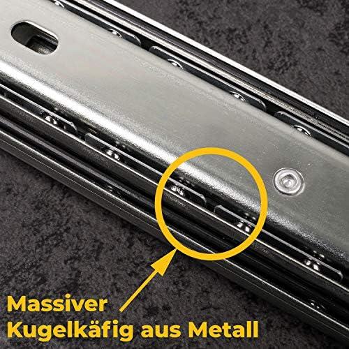 1 Paar Schubladenschienen VOLLAUSZUG Auszugsschiene 35mm Nut 550 mm L/änge Ohne Soft-Close