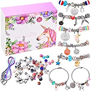 monochef DIY Charm Bracelet Making Kit, Jewelry Making Supplies Bead Snake Chain Jewelry Gift Set for Girls Teens