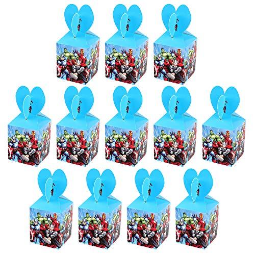 Qemsele Cajas De Fiesta Bolsas de cumpleaños, 12Pcs Regalo Cajas, Cajas de Caramelo Tema reutilizable Bolsas de Fiesta…