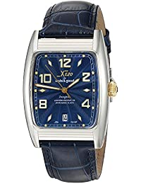 Xezo Incognito Men's 10 ATM Water Resistant Watch. 9015 Miyota Automatic Movement. Gold Accents, Sapphire Blue Dial.  X-Large Leather Wristband