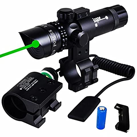 WNOSH Green Dot Sight with Pressure Switch 532nm Picatinny-Weaver Rail Scope Mount Universal Rifle Rechargeable CR123A Battery (Green Dot Laser For Gun)