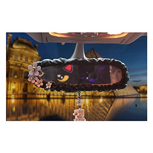 LuckySHD Black Pu Leather Car Rearview Mirror Cover Daisy Flower Decor Car Accessory (Daisy Mirror)