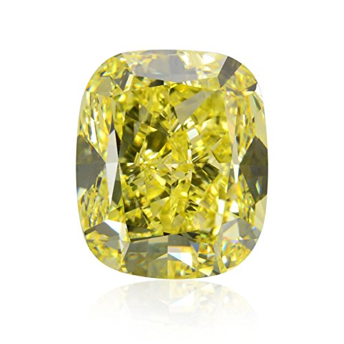10 03Cts Fancy Intense Yellow Loose Diamond Natural Color Cushion Cut Gia Cert