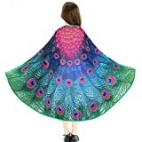 iROLEWIN Kids Fairy Peacock Wings Costumes Feathered- Girls Princess Dress Up Kit Role Play Party Games (Rose)