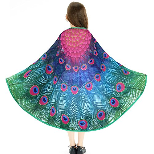 iROLEWIN Kids Fairy Peacock Butterfly Wings Costume - Girls Princess Dress Up Kit Role Play Party (Peacock Dress For Girls)