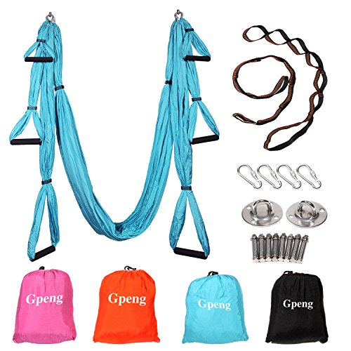 Hammock Sling (Gpeng Aerial Flying Yoga Hammock Set - Yoga Swing / Inversion / Sling Hammock with 2 Daisy Chain Adjustable Straps + All Installation Hardward + Installation Guide (Skyblue))