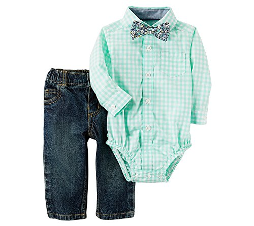 Carter's Baby Boys' Long Sleeve Bowtie Check Bodysuit and Jeans Set 18 Months