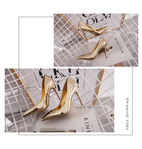 Elegant Gorgeous Lady Vintage Color Heels 10cm Mouth Fashion PU High Pointed Comfortable Shallow Shoes Gold 40 Size Leather Sexy Shoes Female Wedding 00r4qf