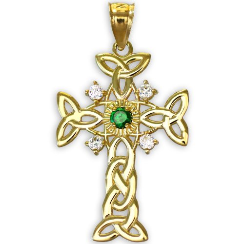 14K Gold Celtic Knot Trinity Cross Diamond Pendant with Genuine Emerald -