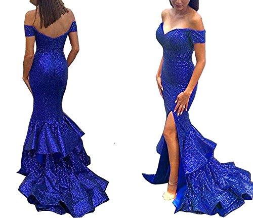 Ellystar - Vestido de fiesta para mujer, con lentejuelas, diseño de sirena, Royl Blue, 10