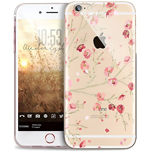 iPhone 5S Case,iPhone SE Case,iPhone 5 Case,ikasus Ultra Thin Crystal Clear Rubber Gel TPU Soft Silicone Bumper Case Cover with Shockproof Protective Case for Apple iPhone SE 5S 5[Pink Peach Floral]